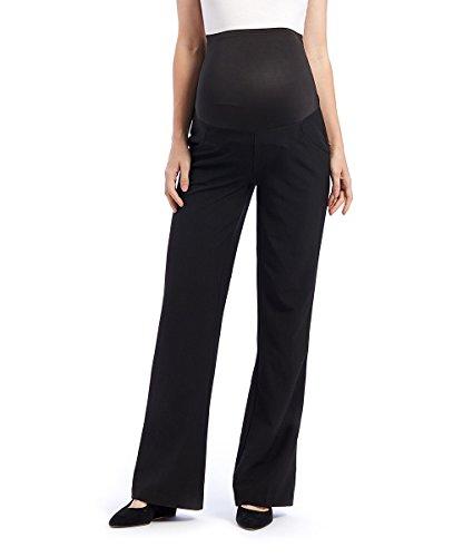 Times Two Maternity Women's Flare Leg Dress Pants (Large, Black)