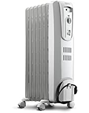 De'Longhi Oil-Filled Radiator Space Heater, Full Room Quiet 1500W, Adjustable Thermostat, 3 Heat Settings, Energy Saving, Safety Features, Light Gray, TRH0715CA, white