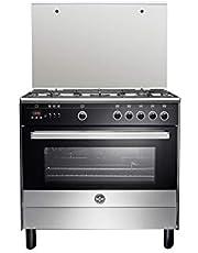 La Germania 9M10G4A1X4AWW Freestanding Cooker, 90 x 60 cm, 5 Gas Burners - Black