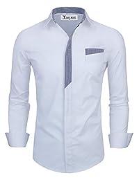 TAM WARE Mens Premium Casual Inner Contrast Dress Shirt TWNMS310S-CMS05-WHITE-US XL