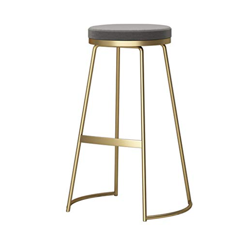 Modern Bar Stool Breakfast Kitchen High Stool Round Seat Counter Stool Footrest Design (Material: Wrought Iron + Velvet, 65 / 75CM) (Color : Gray Cushion, Size : Gold - Wrought Iron Material
