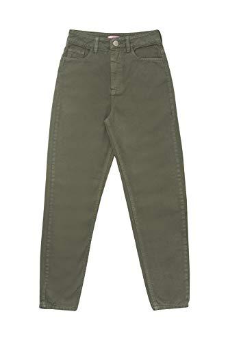 Calça Mom High Jeans Verde Oliva