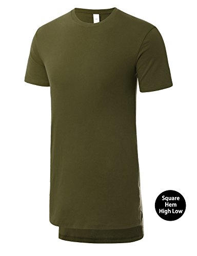 JD Apparel Mens Basic Hipster High Low Crewneck T-Shirts Medium (Mens Basic Crewneck T-shirt)