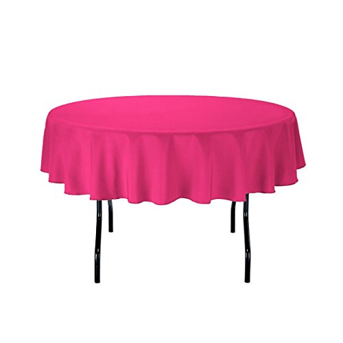 "Gee Di Moda Tablecloth - 70"" Inch Round Tablecloths for Circular Table Cover in Fuchsia Washable Polyester - Great for Buffet Table, Parties, Holiday Dinner & More"