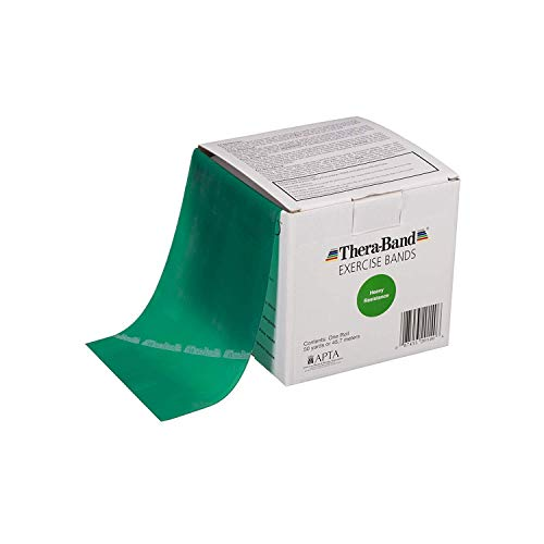 TheraBand Resistance Band 50 Yard Roll, Heavy Green Non-Latex Professional Elastic Bands for Upper & Lower Body Exercise, Physical Therapy, Pilates, Rehab, Dispenser Box, Intermediate Level 1