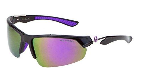 Khan Polarized Slim Semi Rimless Sport Wrap Around Sunglasses (Black, Silver & Purple Frame, Purple Flash Mirror)