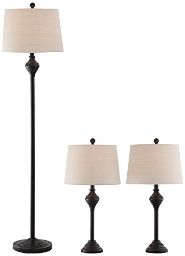 Mason Bronze 3-Piece Floor and Table Lamp Set (14 Light Transitional Floor Lamp)