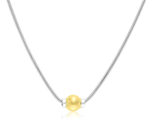 Solid 925 Sterling Silver And 14K Gold Ball CAPE COD BEACH Designer Real Snake Chain ()
