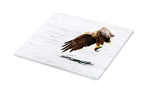 Ambesonne Eagle Cutting Board, Bird with Feathers on Head an