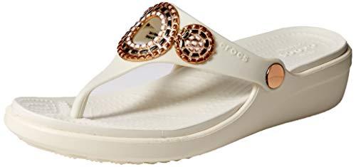 (Crocs Women's Sanrah Diamante Wedge Flip Flop, Oyster/Rose Gold 11 M)
