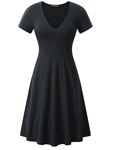 (FENSACE Funeral Dress, Womens Casual V Neck Midi Knit Swing Dress)
