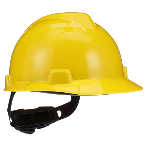 MSA 475360 V-Gard Hard Hat Front Brim with Ratchet Suspension, Standard, Yellow