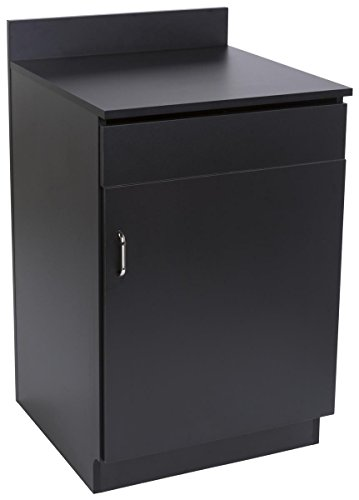 Displays2go Serving Station for Restaurants, Single Cabinet Door, Adjustable Shelf, Pullout Drawer - Black (LCKDSDWSBK)