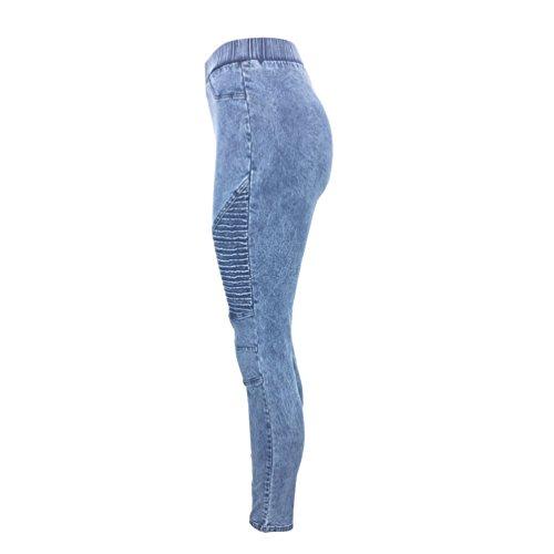 Legging Jeans Skinny Leggero Eleganti Vita Lunghi Casual Alta Elastico Matita Sentao Blu A Donna Pantaloni wqIvvg