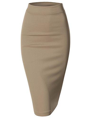 Doublju Elastic Waist Scuba Slim Fit Stretchy Pencil Midi Skirt (Plus size available)CAMEL LARGE