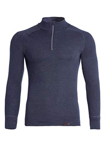 con-ta Thermo Langarm Shirt mit Zipper für Herren, wärmendes Longsleeve aus natürlicher Baumwolle, bequemes Basic, Herrenbekleidung, Marine Melange, Größe: 8