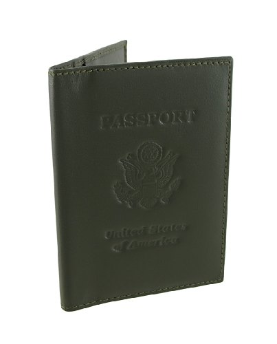 Olive Green Leather USA Embossed Passport Holder Cover