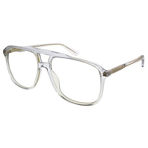 Gucci GG0262S 006 Transparent Plastic Aviator Sunglasses Grey Lens ()