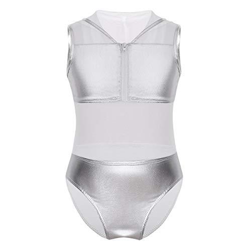 inlzdz Kids Girls Mesh Hooded Metallic Splice Zipper Closure Gymnastics Leotard Dancing Sporting Activewear Silver 10 ()