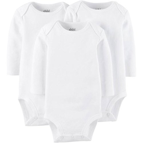 Child Of Mine by Carter's Newborn Baby Long Sleeve Bodysuit, 3 Pack (6-12M) ()