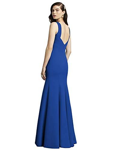 (Dessy Women's Low Back Full Length Sleeveless Crepe Dress w/Bateau Neckline - Sapphire - Size 12)