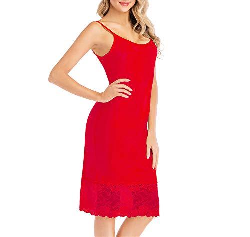 Mother's Day Full Slip Dress Adjustable Spaghetti Strap Under Dress Knee Length Slips with Lace bottom skirt Nightwear Red M