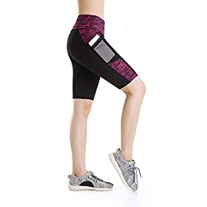 Annjoli Women's Active Fitness Workout Running Yoga Shorts Workout Tights Yoga Shorts with Pockets
