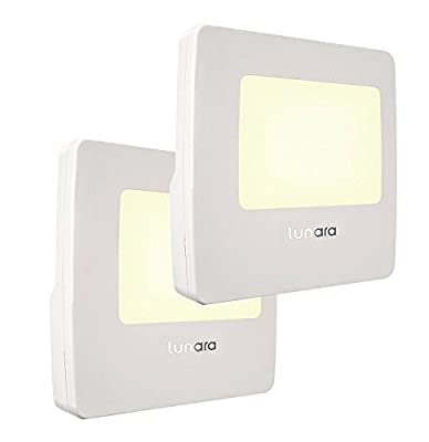 Lunara LED Night Light with Smart Light Sensor [Pack of 2] - WARM White Plugin Nightlight for Kids & Adults - Long Lasting & Energy Efficient - Great for Hallways, Bathrooms, Nursery, Stairway