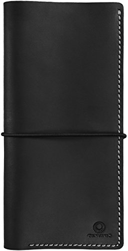 Genuines Long Leather Travel Wallet - Boarding Pass Passport Holder with Strap