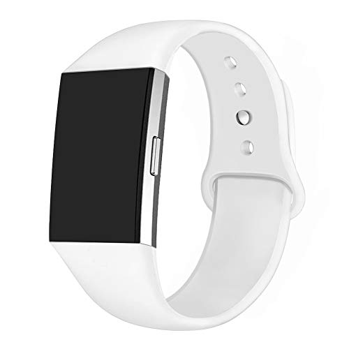 (GHIJKL Sports Band Compatible Fitbit Charge 2, Soft Silicone Replacement Wristband for Fitbit Charge 2,Women Men, Small, White)
