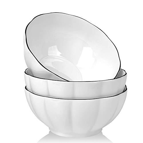 AnBnCn 3-Pack-56 Oz Large Salad Serving Bowl-Porcelain Cereal/Pasta Bowl Sets,Non-slip and Stackable, White ()