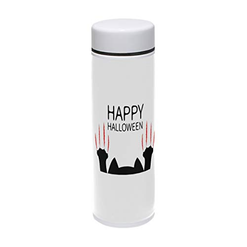Bush August Travel Mug Happy Halloween Black Cat Paw Thermos Food Grade 304 Water Bottle Insulation Cup Leak Proof No Spill Lid Thermoses 220 ml Traveler -