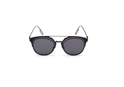 Korean personalized metal glasses sunglasses female big frame sunglasses retro wave (Black-rimmed black and gray - Mens Cartier Glasses
