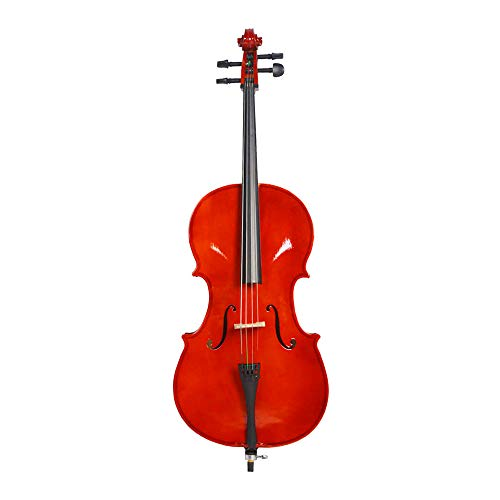 3/4 Acoustic Cello + Case + Bow + Rosin Natural Color Beautiful Varnish - 0.75 Bows Inch