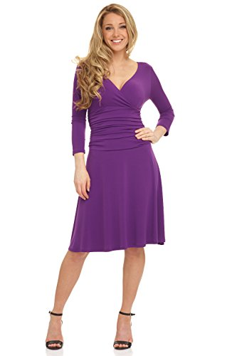 Rekucci Women's Slimming 3/4 Sleeve Fit-and-Flare Crossover Tummy Control Dress (18,Purple)