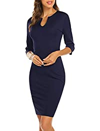 Women's Business Wear to Work Sleeveless V Neck Bodycon Pencil Dress