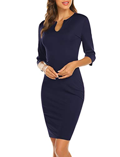 (Naggoo Women's Business Wear to Work 3/4 Sleeve V Neck Bodycon Pencil Dress 02 Navy Blue#)