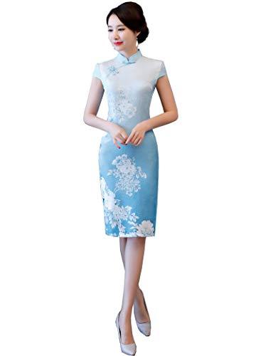 Reveryml Donna Abito lungo in seta Qipao in seta sintetica Abito cinese Abito vintage in stile cinese Abito orientale cinese Cheongsam vintage Blue