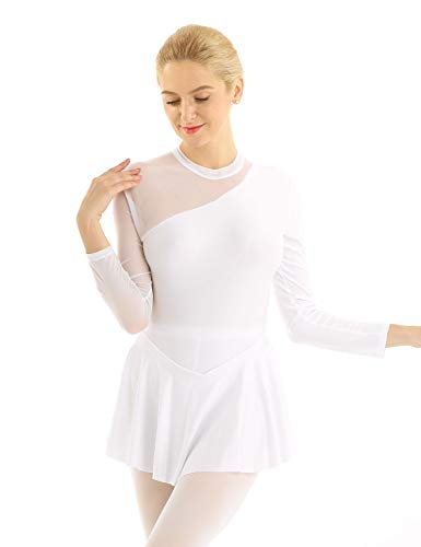 YiZYiF Lyrical Women's Adult Figure Ice Skating Dress Long Sleeves Spandex Gymnastics Leotard White Small (Best Figure Skating Dresses)