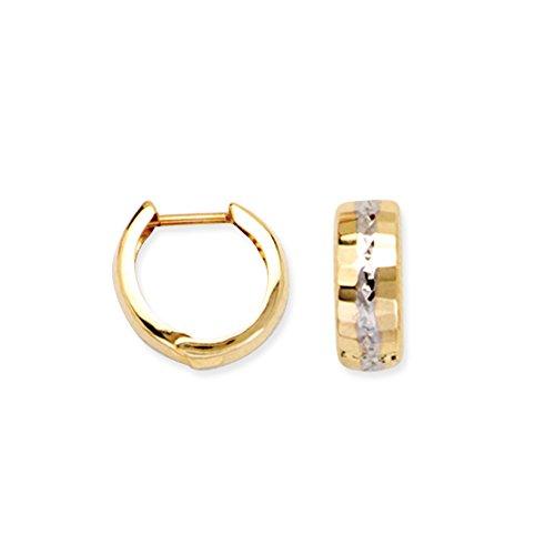 Hoop Earring, 14Kt Gold Two Tone Hoop Earring by DiamondJewelryNY