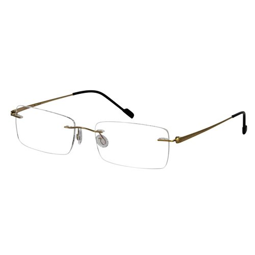 EyeBuyExpress Titanium Rimless Rectangle Gold Reading Glasses Magnification Strength - Glasses Rectangle Gold