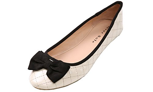 Feversole Fashion Bow Round Toe Ballet Flat (6, Beige)