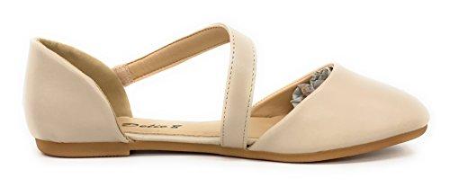 Blaue Berry EASY21 Frauen Casual Flats Ballett Knöchelriemen Mode Schuhe Nude74