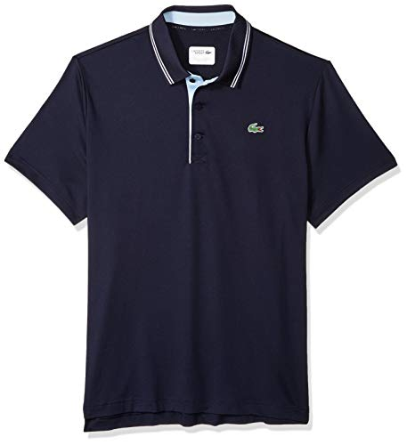 (Lacoste Men's Sport Short Sleeve Jersey Polo W/Contrast Piping, Navy White/Dream Blue, XX-Large)