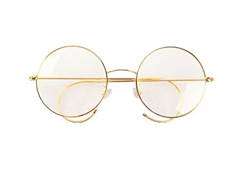 Agstum Retro Round Optical Rare Wire Rim Eyeglass Frame 47mm (Medium size) (Gold 47mm)