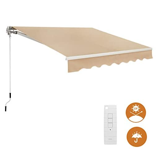 Garden and Outdoor AECOJOY 8.2'×6.5′ Electric MotorizedPatio Awning Retractable Sun Shade Awning Cover Outdoor Patio Canopy Sunsetter Market Deck Awnings with Remote Control and Manual Crank Handle, Beige patio awnings