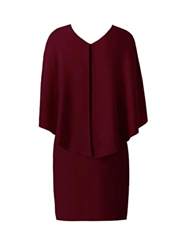 Neck Red Ruffle Deep Slevee Pencil Cocktail Cape Women's V Bella Wine Dress Formal Helen Party qXHExwI6f