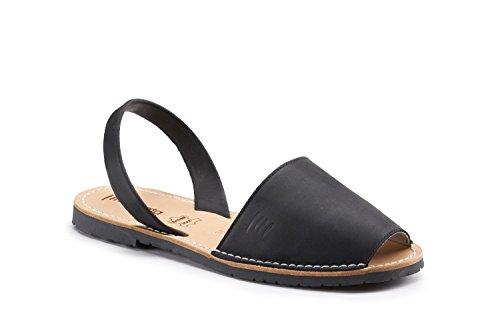 Sandali In Pelle Premium Avarca Donna Visata Menorca Nero