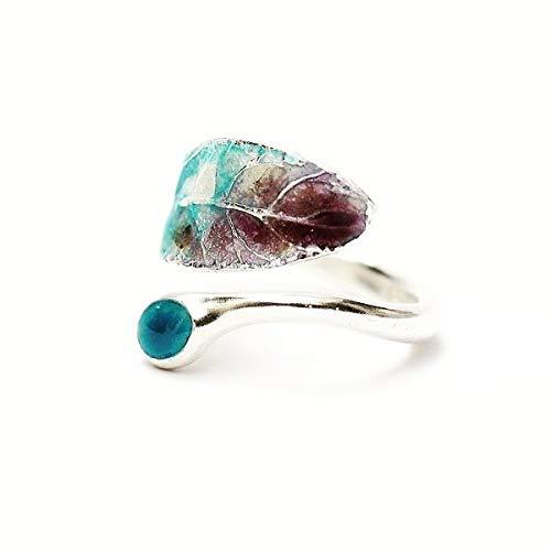 (Lxbin Vintage 925 Sterling Silver Natural Gemstone Turquoise Adjustable Ring Bride Wedding Engagement Fine Jewelry Size 6 7 8 9 10)