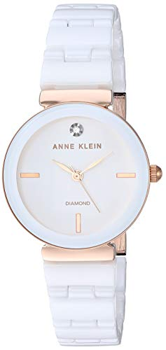 Diamonds White Dial - Anne Klein Women's Genuine Diamond Dial Rose Gold-Tone and White Ceramic Bracelet Watch